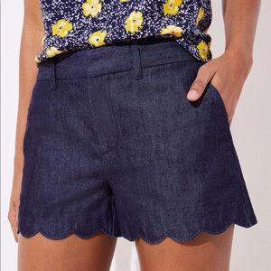LOFT Scalloped Hem Jean Shorts